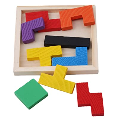 TraveT Wooden Tetris Puzzle Tangram Jigsaw Brain Teasers Toy Educational Gift for Kids: Toys & Games