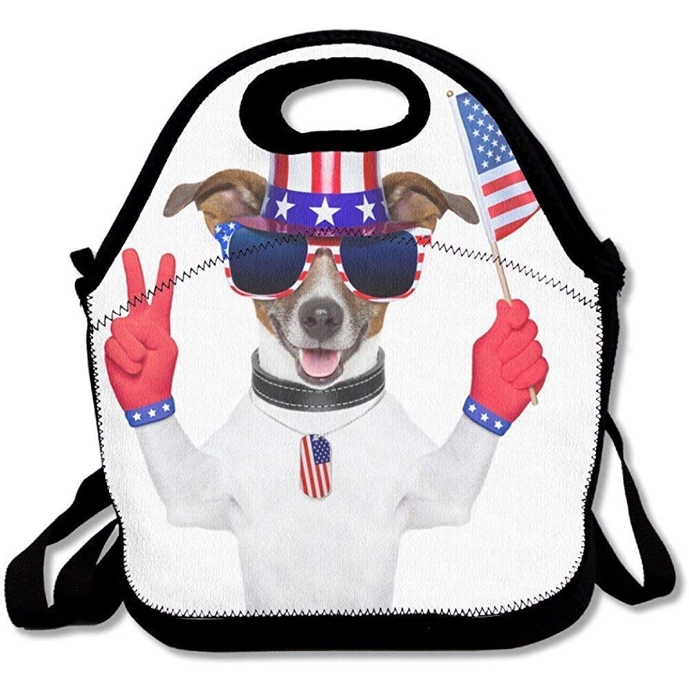 c9ca30d8ab41 Amazon.com - Vioceff Lunch Bag Kids Lunch Bag Lunch Box Food Bag  Interesting Popular Pet Dog American Flag Red Gloves Sunglasses Hat Cute -