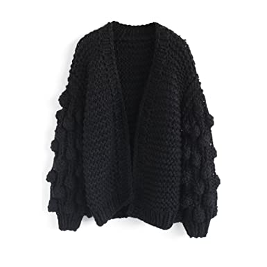 1c49d73e58 Chicwish Women s Black Pom-Pom Sleeves Hand Knit Open Front Soft Chunky  Cardigan