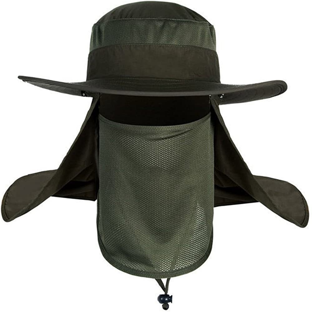 Fishing Hiking Hat Outdoor Sport Sun Protection Neck Face Flap Cap Wide Brim