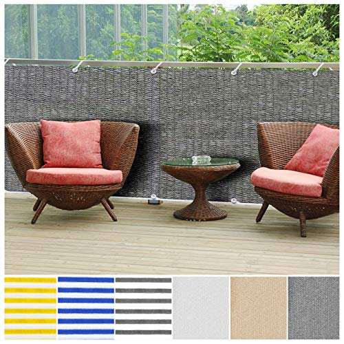 casa pura Balcony Privacy Screening Cover | Screen Cover for Sun Protection - 3 x 164 - Gray | Multiple Colors Available