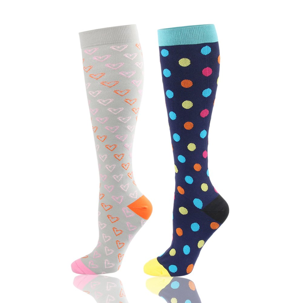 HLTPRO Compression Socks for Women & Men 20-30 mmHg - 2 to 4 Pairs Graduated Compression Athletic Stocking for Running, Crossfit, Travel- Suits, Nurse, Maternity Pregnancy (Grey Bow,2 Pairs, L/XL)