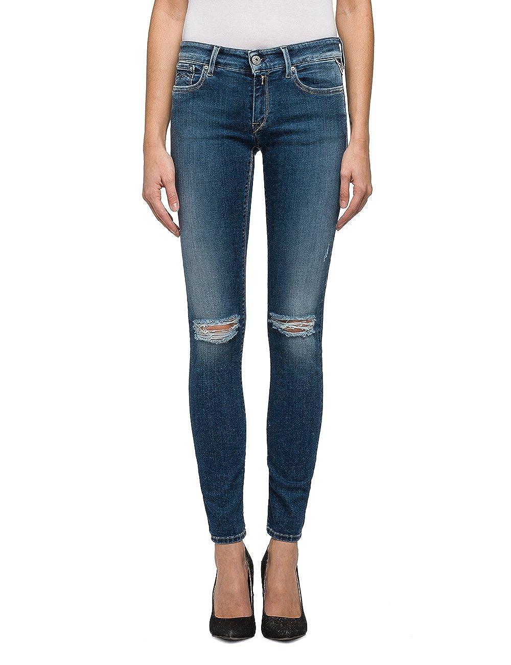 TALLA 24W / 32L. REPLAY Luz Jeans Ajustados para Mujer
