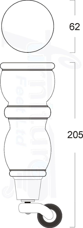 Knightsbrandnu2u 4/x Gambe in Legno massello 205/mm Altezza Sostituzione Castor Feet per divani sedie poggiapiedi/ 10/mm divani /RJB174Z / /M10/