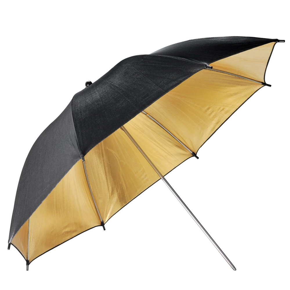 Neewer 33 inch Black and Gold Reflective Lighting Umbrella - Great for Portrait Photography Studio
