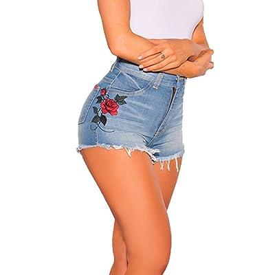 Aelegant Femme Jean Court Eté broderie Imprimé Taille Haute Vintage Pantalon Short Bermudas Denim Collant