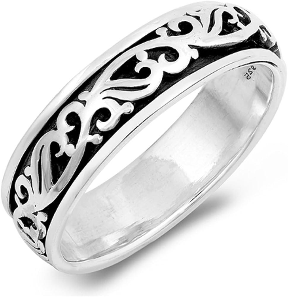 CloseoutWarehouse Sterling Silver Filigree Designed Spinner Ring