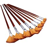 Wode Shop 9 Pieces Artist Fan Brushes Set, Nylon Hair Wood Long Handle Paint Brush for Acrylic Watercolor Oil Painting