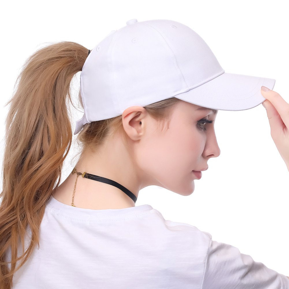 Womens Ponytail Baseball Hat Messy High Buns Ponycap Plain Unconstructed Cotton Dad Hat Adjustable Cap Hat for Girls