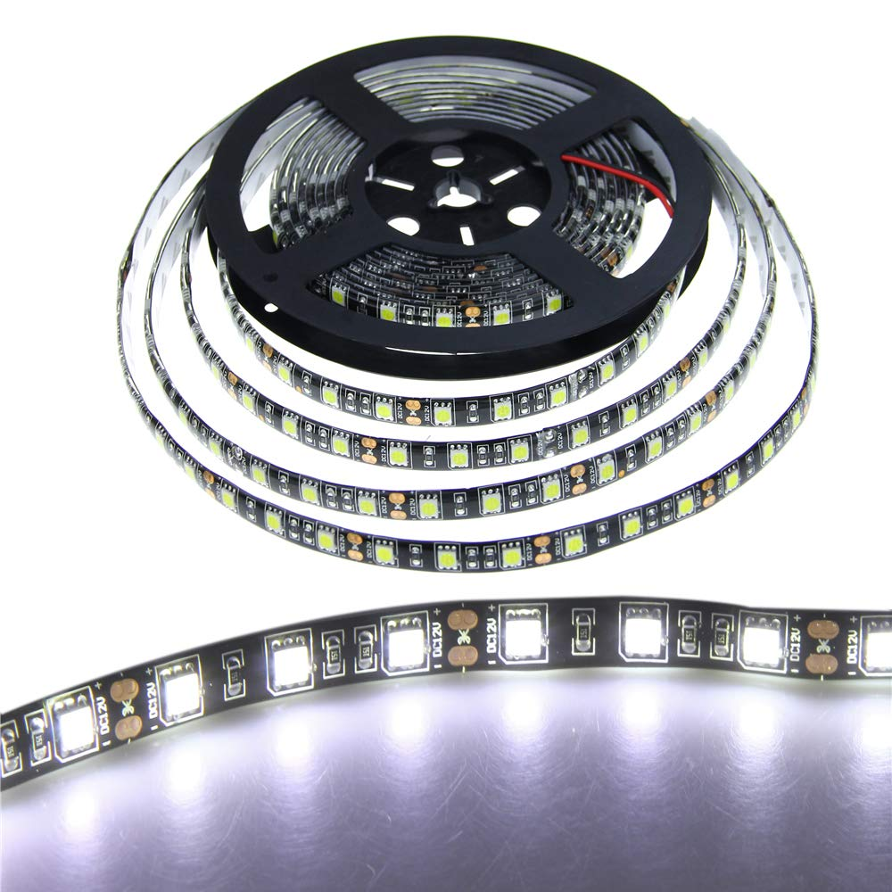 ALITOVE 16.4ft White LED Strip Flexible Ribbon Light Black PCB 5050 SMD 5M 300 LEDs Waterproof IP65 DC 12V for Home Garden Commercial Area Lighting