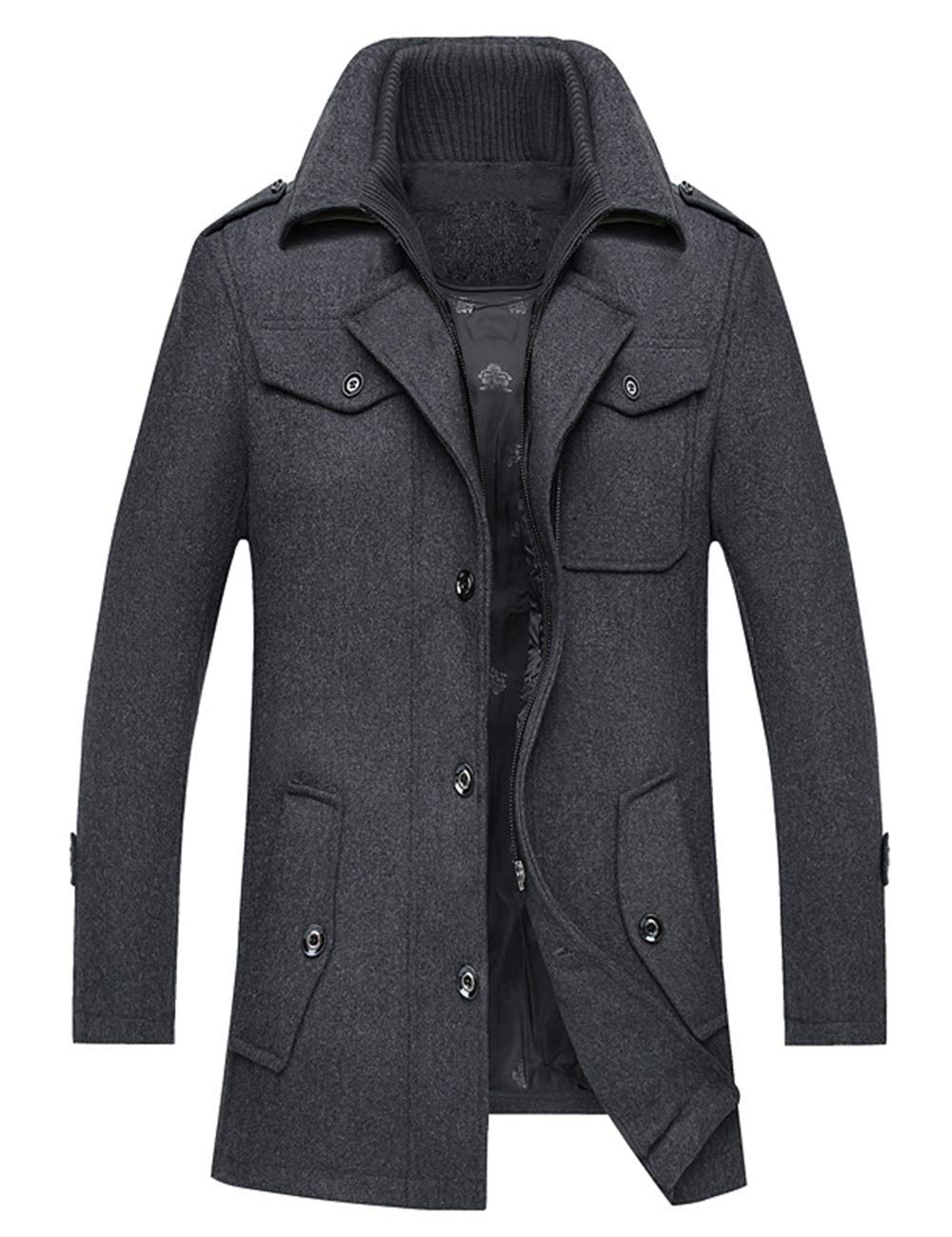 ZENTHACE Men's Winter Solid Single Breasted Thicken Warm Wool Blend Pea Coat Gray L by ZENTHACE