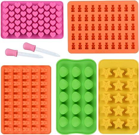 SENHAI Moules /à bonbons et petits donuts en silicone bonbons lot de 2 moules /à bonbons en forme d/'ourson en gomme chocolat lot de 2 moules /à chocolat 48 cavit/és gel/ée pour gla/çons