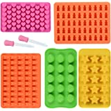 Chocolate Molds Gummy Molds Silicone - Candy Mold and Silicone Ice Cube Tray Nonstick Including Hearts, Stars, Shells & Bears Set of 5 Best Food Grade Silicone Molds with 2 Bonus Droppers