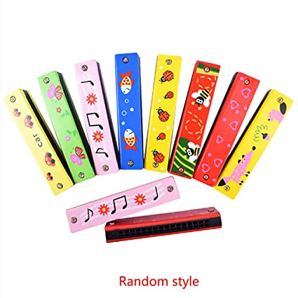 High Quality Musical Toy 16 Hole Harmonica Wooden Musical Toy Random Color Painted Instrument Kids Toy Toddler Toys Toy Musical Instrument Toys & Hobbies