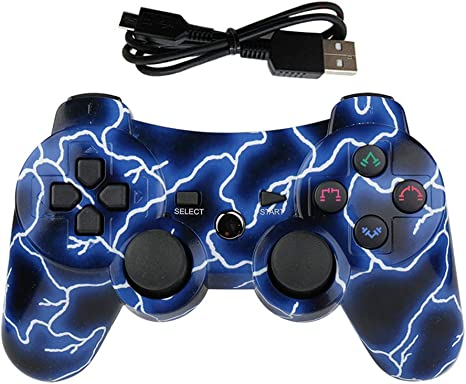 Lioeo PS3 Controller Wireless Gamepad for PlayStation 3 Bluetooth Game Controller Remote Control Support PS3 Deep Blue