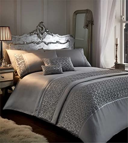 b69cf1215da7 Zenia - Silver - Duvet Cover Set - Double: Amazon.co.uk: Kitchen & Home