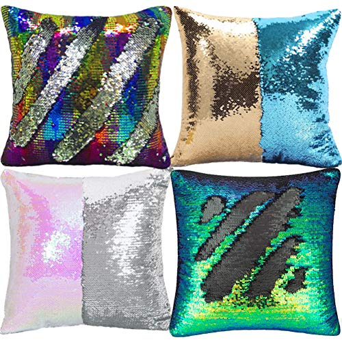 Set of 4 Magic Reversible Sequins Mermaid Pillow Cases Throw Pillow Covers Decorative Pillowcase Glitter Change Color-16 x 16inches for Cars Home party Sofa Cushion Birthday Gifts-Pure -