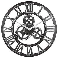 OLDTOWN Clock 3D Retro Rustic Vintage Wooden 23-Inch Noiseless Gear Wall Clock, Roman-Silver
