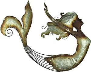 Moby Dick Specialties Distressed Metal Art Swimming Mermaid Wall Sculpture
