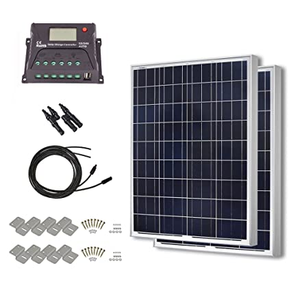 HQST 200 Watt 12 Volt Polycrystalline Solar Panel Kit with 20A PWM LCD  Display Charge Controller