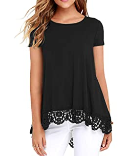 9f36afe0389cb8 ZEGOLO Women's Casual Lace Tunic Tops Long Sleeve and Short Sleeve O-Neck A  Line