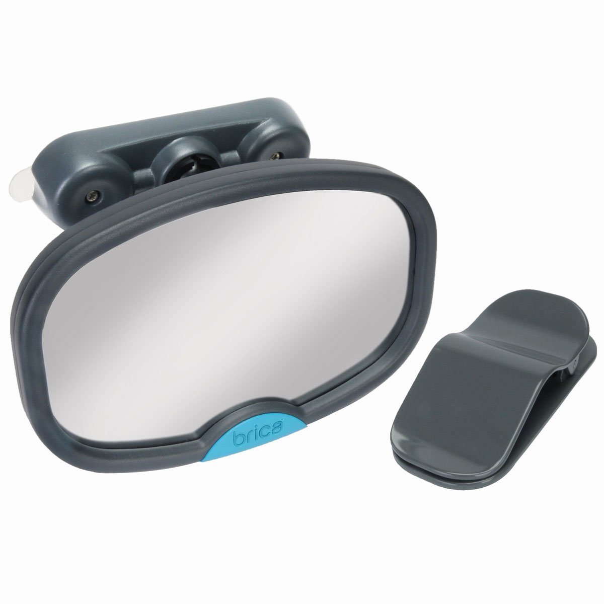 Munchkin BRICA Deluxe Stay-in-Place Mirror for in Car Safety, Grey 63015