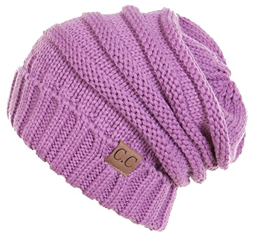 Purple Long Beanie (H-6100-61 Oversized Slouchy Beanie -)