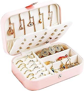 Organizador de caja de joyería de viaje personalizado: estuche de viaje de joyería de cuero de PU, pequeño, niños, niñas, caja de joyería para mujer, anillos, pendientes, organizador de collar, rosa: Amazon.es: