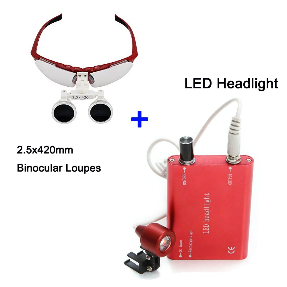 Zinnor Dental Surgical Medical Binocular Loupes Optical Glass Loupe 2.5X420mm + Dental LED Head Light Lamp (Red)
