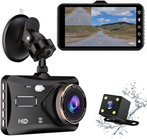Dash Cam 4 IPS Touch Screen Dual Lens Car Dashboard Camera 1080P FHD Video Recorder and Waterproof Backup Camera, 170 Degree Wide Angle,G-Sensor,Parking Monitor, Loop Recording, Night Vision