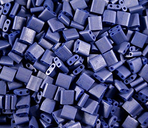 TILA TILE GLASS BEADS MIYUKI DOUBLE HOLE 5x5mm SQUARE PICK COLOR 10grams (Denim Blue Satin ()