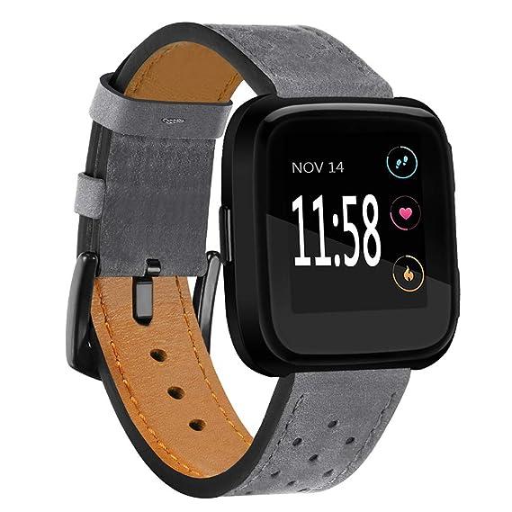 Correa de Reloj para Fitbit Watch, Hebilla de Cuero Casual de Fibra. Correa de