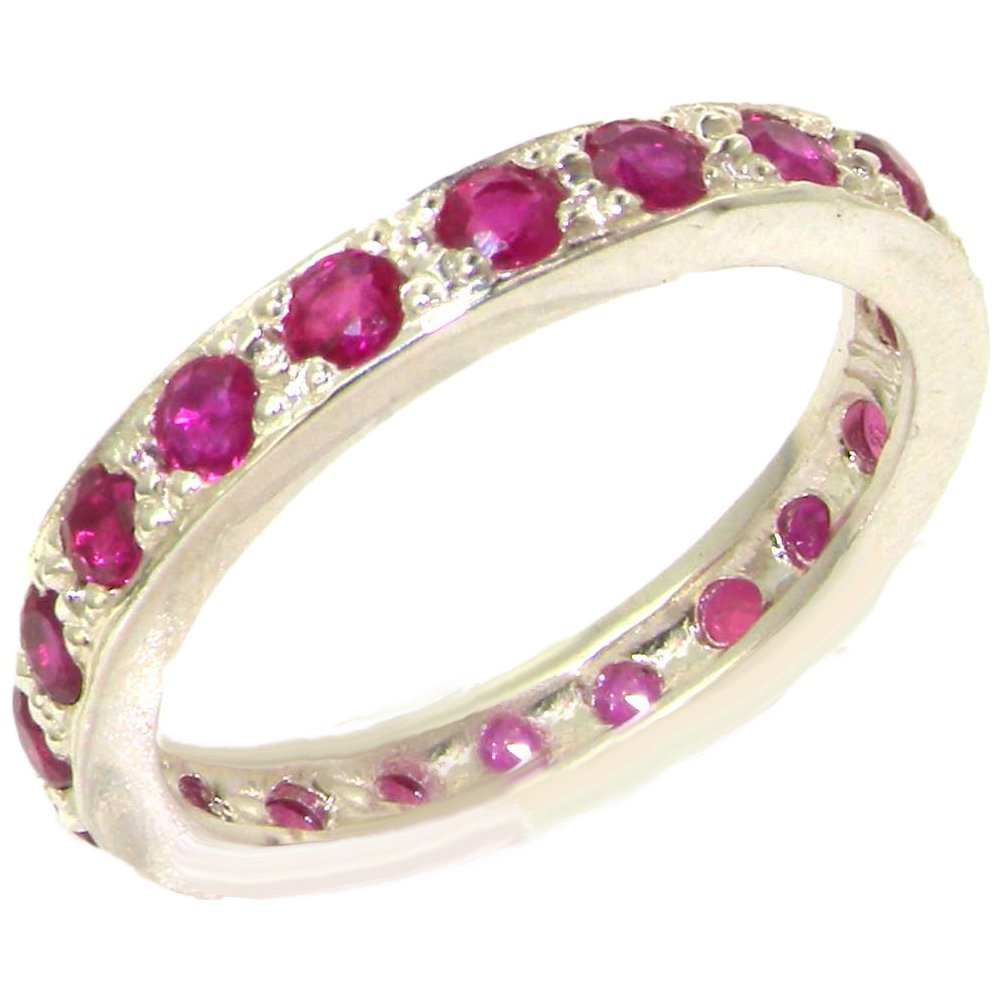 925 Sterling Silver Natural Ruby Womens Eternity Ring - Sizes 4 to 12 Available