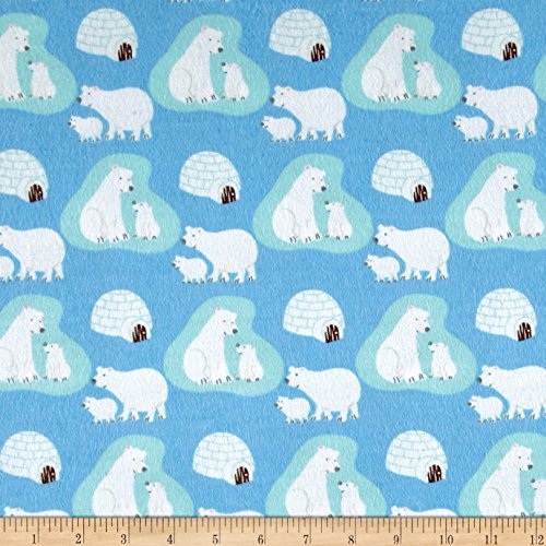 CAMELOT Fabrics Polar Bears Flannel Blue Fabric By The Yard
