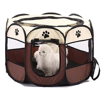 WeiHi Jaula portátil para Mascotas, Perros, Gatos, jaulas de Juego, bolígrafo Plegable caseta para Mascotas casa 8 Paneles Jaula de Resistencia a la ...