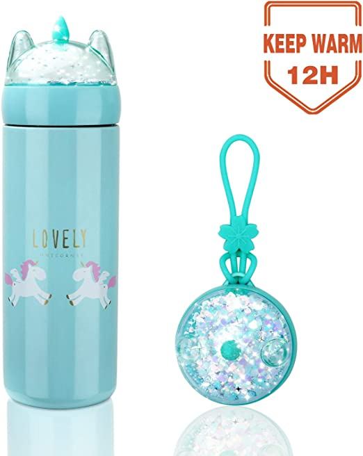 unicorn flask drink container water bottle screw top glass gift