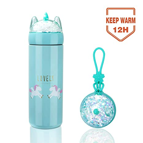 Unicorn Water Bottle for Kids, 12 Ounce Thermoses Stainless Steel Water Bottle Vacuum Insulated Water Flask Gift for Girls, Unicorn Drink Bottle with ...