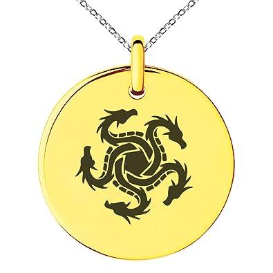 Gold Plated Stainless Steel Greek Mythology Hydra Symbol Engraved