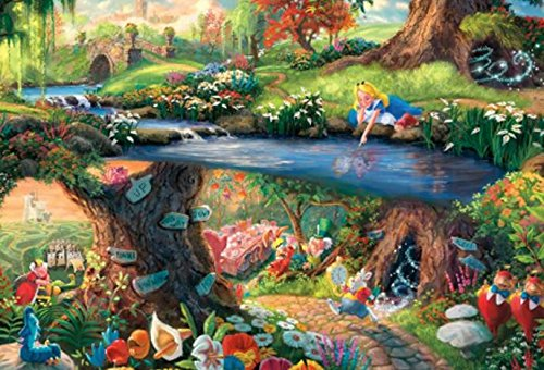 Ceaco (4) 500 Piece Thomas Kinkade - Disney Dreams 4 in 1 Multipack Jigsaw Puzzles - Alice in Wonderland, Mickey and Minnie Mouse, and The Beauty and The Beast - Ages Kids and Adults