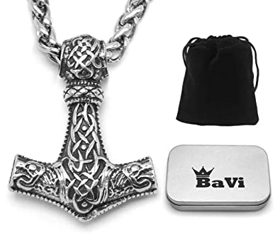Thor Hammer Pendant Necklace Mjolnir Viking Nordic Silver Color Steel Keel Chain