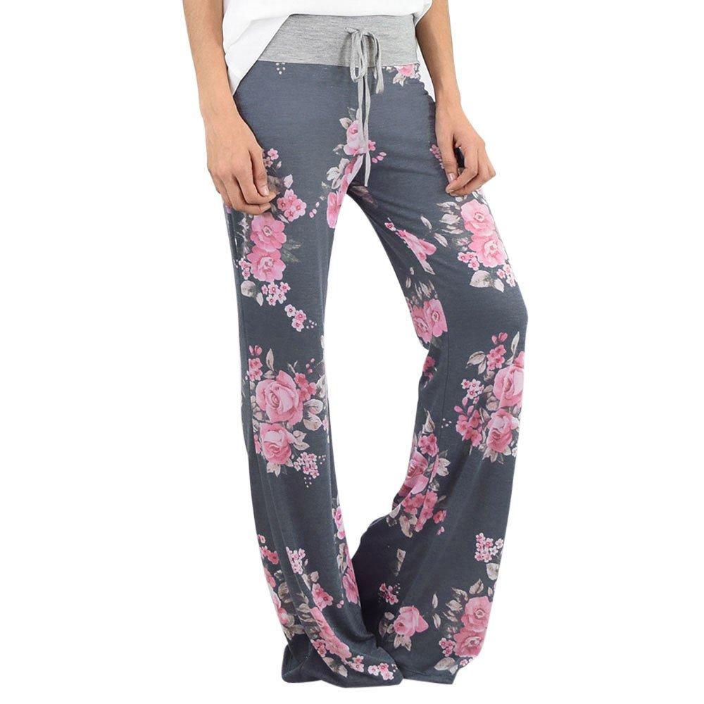 UONQD Women Floral Prints Drawstring Wide Leg Pants Leggings (X-Large,Blue)