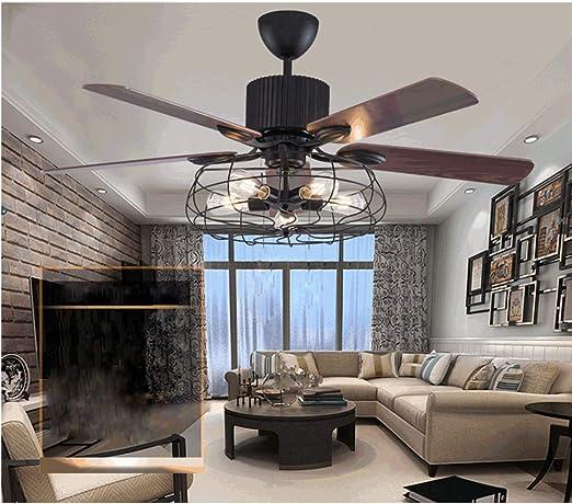 MOMOJA Lámpara de ventilador de techo retro de 52