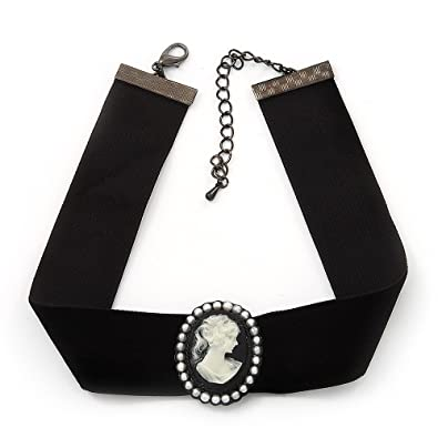 Avalaya Black Velour Ribbon Simulated Pearl 'Cameo' Choker Necklace - 30cm Length & 8cm Extension f4uqt2pFP