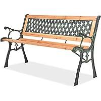 Festnight Garden Bench, Outdoor Garden Patio Park Chair with Diamond-Patterned Backrest Nostalgic 122 x 51 x 73 cm