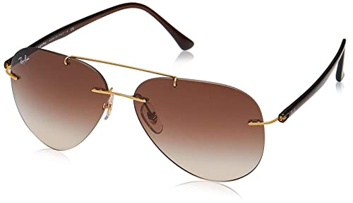 Ray-Ban Mens Titanium Man Sunglass 0RB8058 Aviator Sunglasses, BRUSHED GOLD, 59 mm