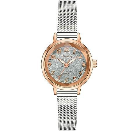 a7fb1aee5d7b Reloj Femenino De Cuarzo Relojes Pulsera Mujer Matte Disk Relojes De Malla  De Plata Digital Reloj