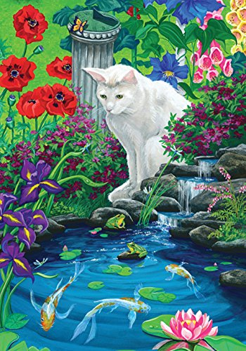 Toland Home Garden Koi Pond 12.5 x 18 Inch Decorative Spring Summer Kitty Cat Japanese Fish Garden Flag ()