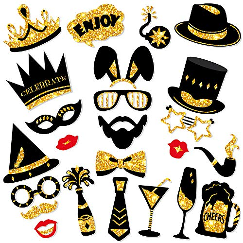 BUSOHA Gold Photo Booth Props - Crowns Hats Lips Mustaches and More Vibrant Pose Sign Perfect for Bachelorette Wedding Birthday Graduation Party Supplies (24Pcs)]()