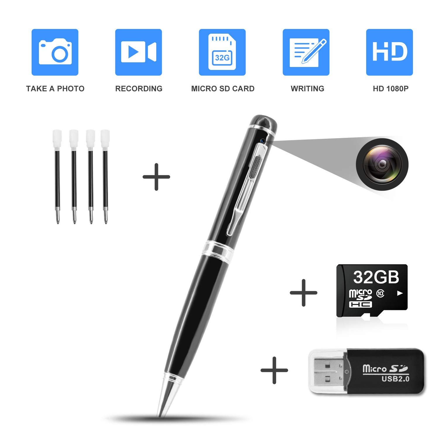 Hidden Pen Camera Spy Pen Camera HD 1080P Clip On Body Camera Mini Camera Pen 32GB SD Card with Included Wonderful Spy Gadgets for Business and Conference by DZFtech