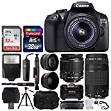 Canon EOS Rebel T6 Digital SLR Camera + EF-S 18-55mm f/3.5-5.6 IS II Lens + EF 75-300mm f/4-5.6 III Lens + Vivitar DC59 Gadget Bag + 64GB Card + Wide Angle & Telephoto Lens + Remote – Accessory Bundle